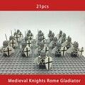 21PCS Medieval Ritter Rom Gladiator Kommandant Caesar Soldat Roman Spartan Bausteine Ziegel Beste Geschenk Baby Spielzeug