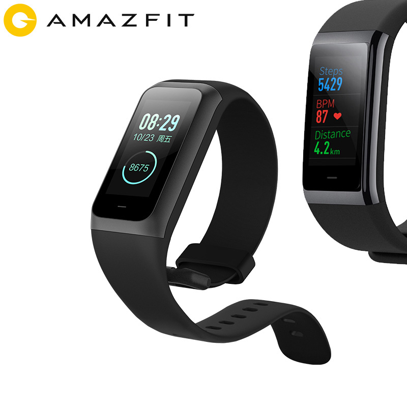 [English] <font><b>Huami</b></font> <font><b>Amazfit</b></font> Band <font><b>Cor</b></font> <font><b>2</b></font> Smart Bracelet Music Control Waterproof <font><b>2</b></font>.5D Color IPS 316L Stainless Steel Frame For Android image