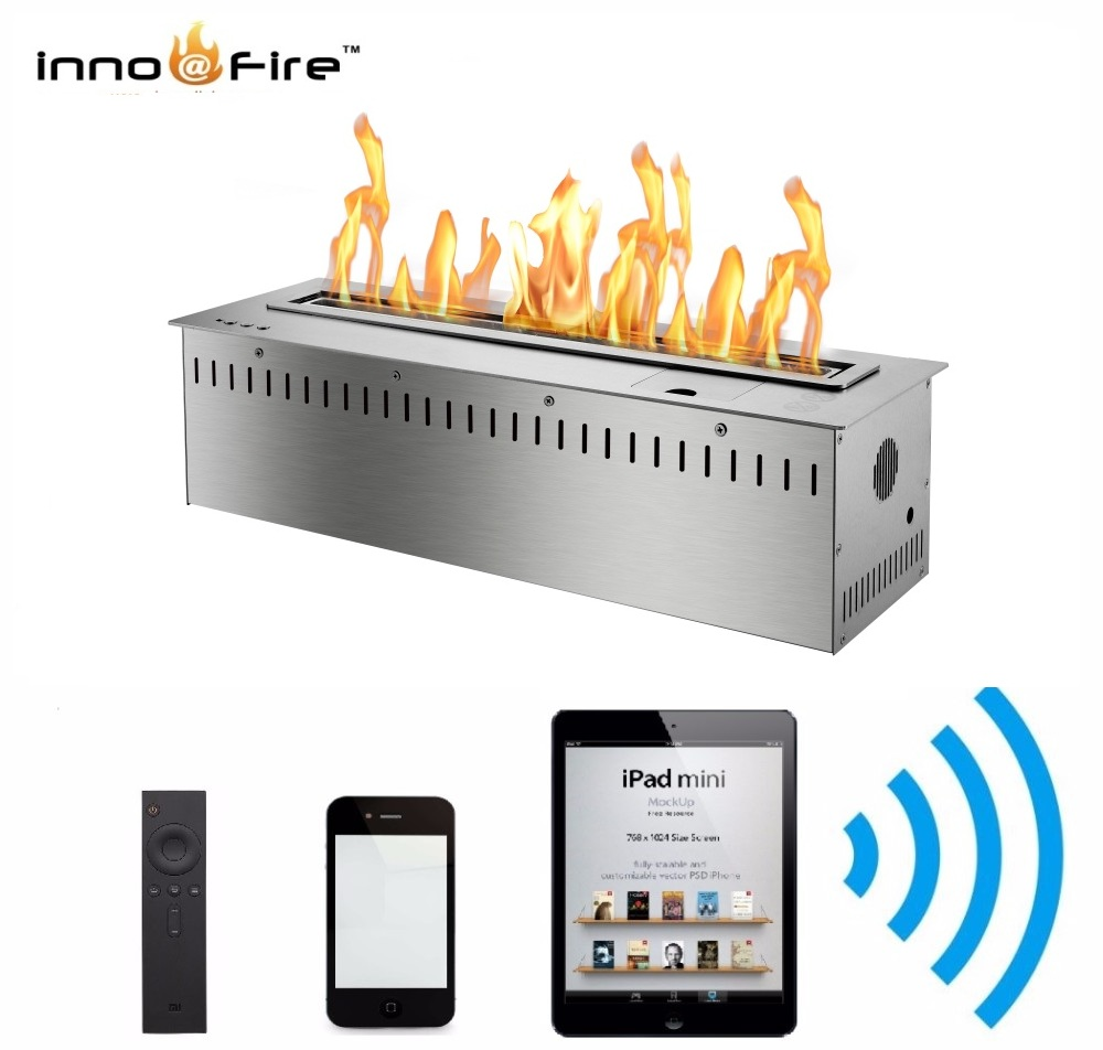 Inno Living Fire 48 Inch Luxury Cheminee Bioethanol Steel Indoor Remote Control Fire Place