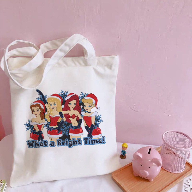 What A Bright Time Fun Letter Print Shoulder Bags Princess Cute Harajuku Messenger Bag Casual Summer New Female Bag Cartoon Tote image