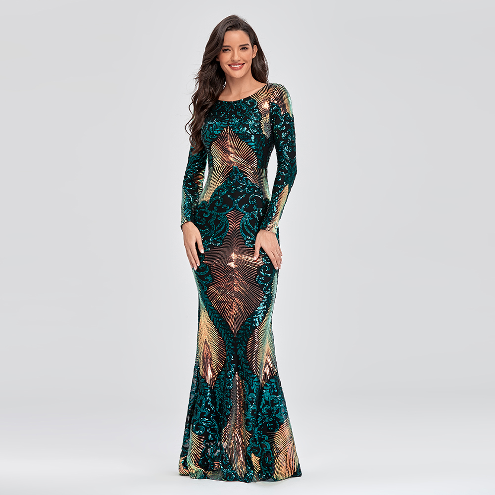 O neck Long Sleeve Shinning Sequins Evening Dresses Sexy Backless Mermaid Party Gowns Maxi Elegant Multi Female Robes vestidos