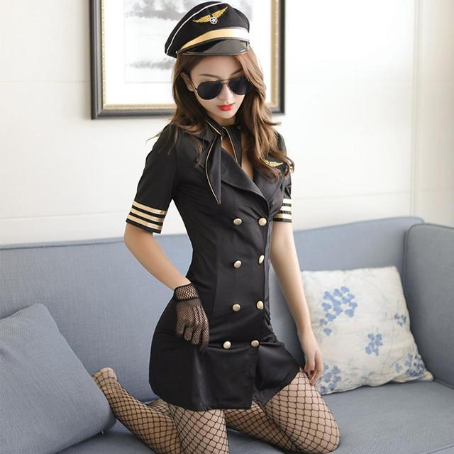Flight Attendant Role Play Dress Women Erotic Cosplay Uniform Costume Sexy Lingerie Porno Air Hostess Nightclub Dress For Couple 2