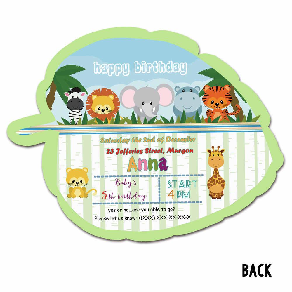 safari animals theme party invitation card 16pcs birthday party decoration supplies blank custom made leaf animal invitations