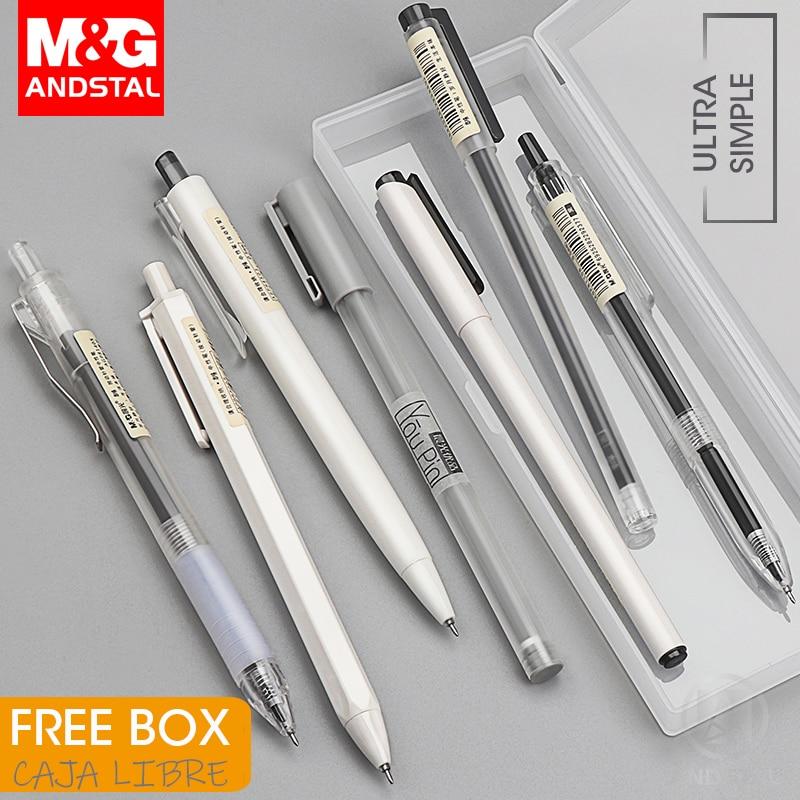 20PCS Black Series Black Ink Rollerball Gel Pens and Pencil Bag Set