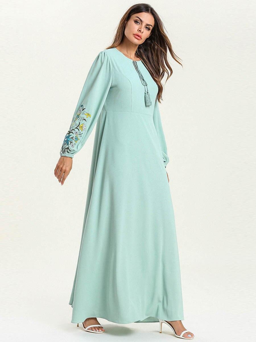Abaya Dubai mode grande taille en vrac couleur unie broderie dentelle à manches longues Musulmane Femme robe - 6