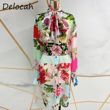 Dress Lantern-Sleeve Floral-Print Fashion Runway Party-Midi Summer Women Ladies Bow Delocah