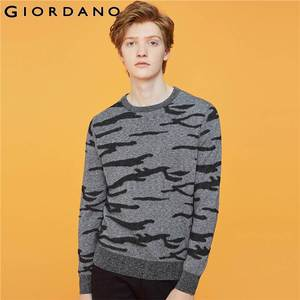 Giordano Men Sweaters Contrast Crewneck Long Sleeve Knitted Pullovers Zebra Thin Slight Strechy Chompa Hombre 92059881
