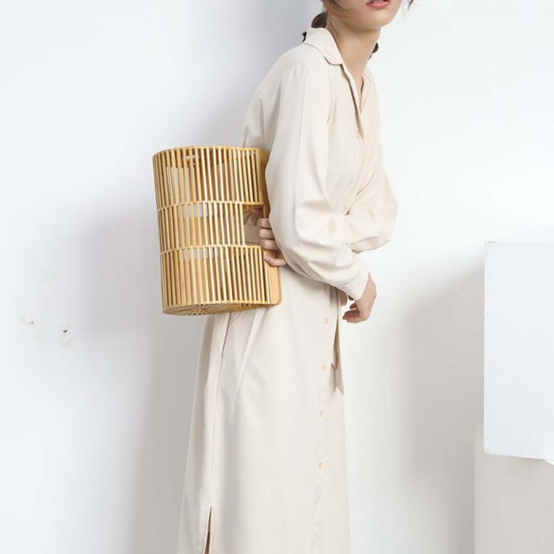 Fashion Women Bamboo Handmade Bag Large Nest Basket Hollow Tote Oval Beach Bag (With Scarf)