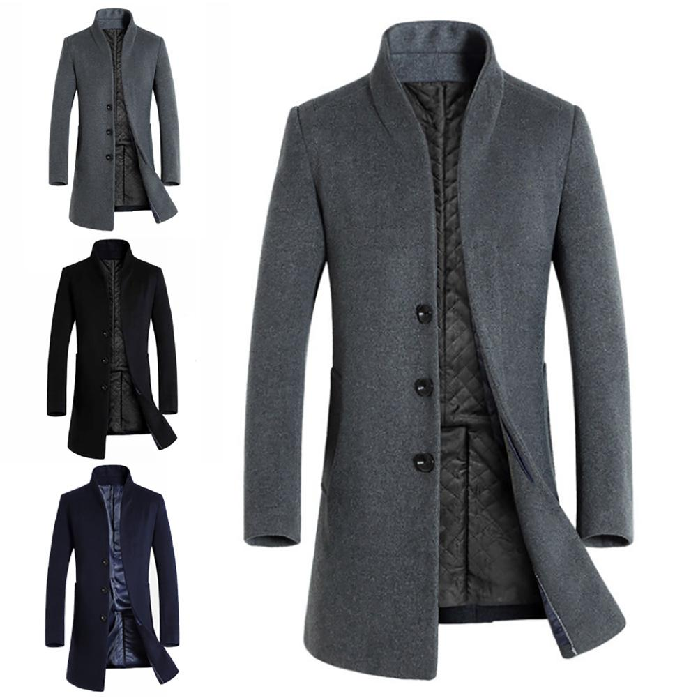 Thickened Men Coats Jackets Winter Warm Solid Color Woolen Trench Blends Slim Long Coat Outwear Overcoat mens Coats and Jacket