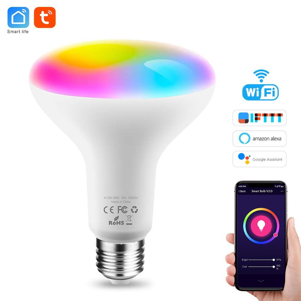 Умная лампочка Tuya E26 E27, Wifi, светодиодная лампа RGB, цветная, с регулируемой яркостью, 220 В, 13 Вт, умная лампочка, лампа Alexa Smart Life
