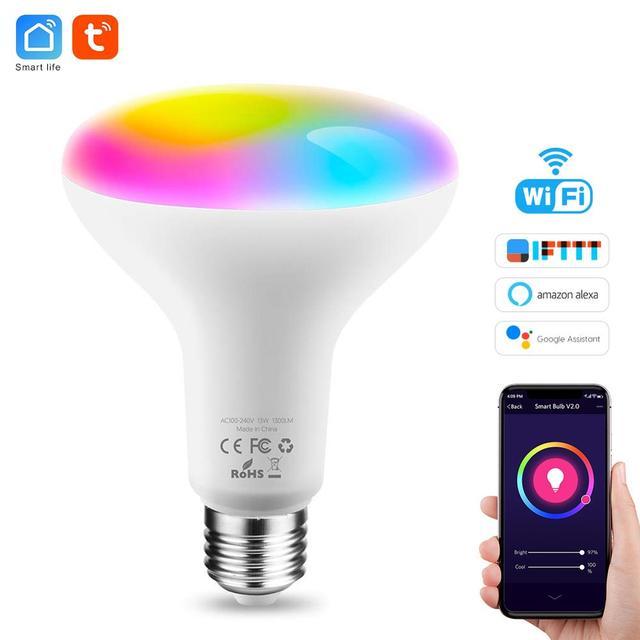 Tuya חכם אור הנורה E26 E27 Wifi Led אור RGB צבעוני Dimmable הנורה 220V 13W השכמה אור חכם הנורה מנורת Alexa חכם חיים