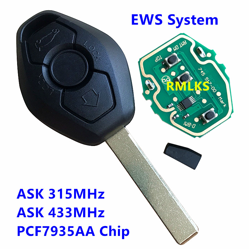 EWS System Remote Key Fob For BMW E38 E39 E46 X3 X5 Z3 Z4 1/3/5/7 Series 433MHz 315MHz Uncut HU92 Blade PCF7935AA ID44 Chip image