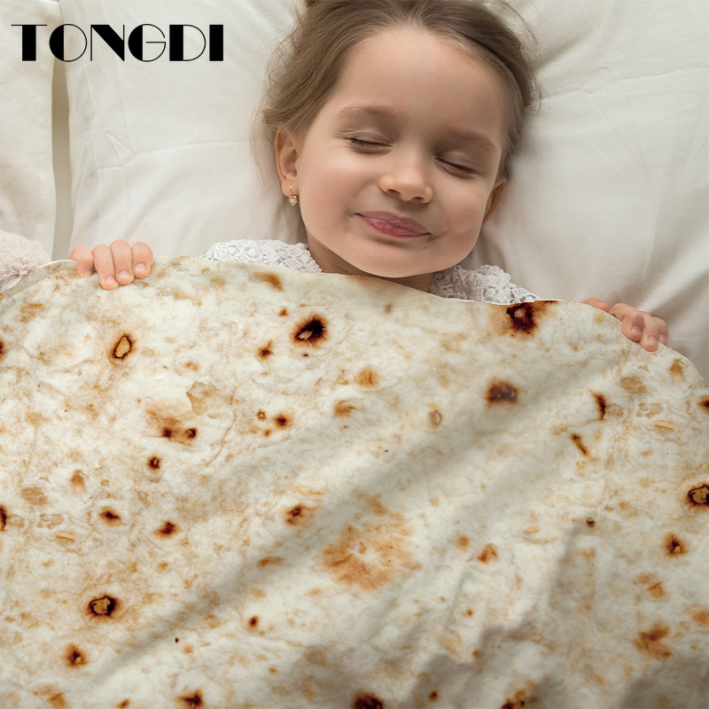 TONGDI Bedding 3D Lovely Cute Cake Fruit Corn Tortilla Blanket Pita Lavash Food Flannel Blanket For Throw Funny Plush Bedspread image