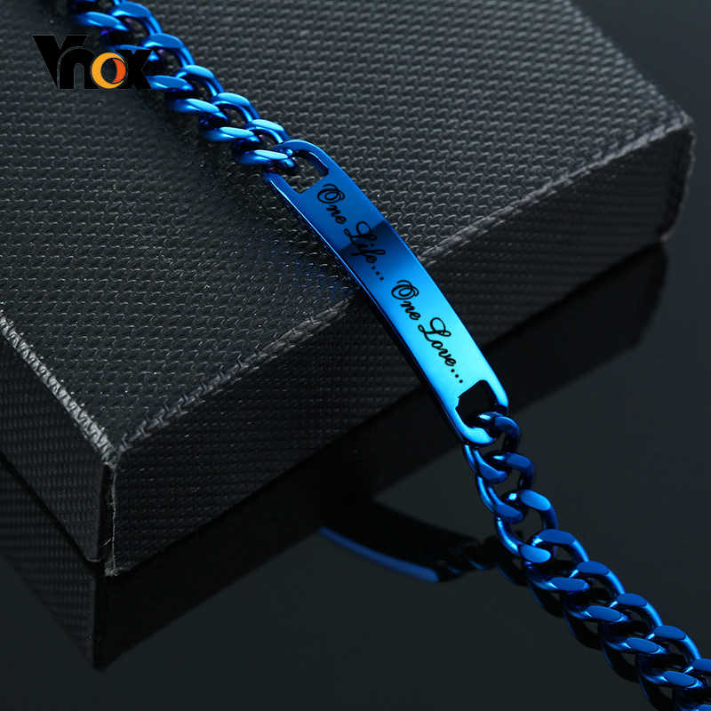 Vnox Customize Stainless Steel ID Bracelet for Men Stylish Blue Color Link Chain Bracelet Casual Gents Name Jewelry Gift