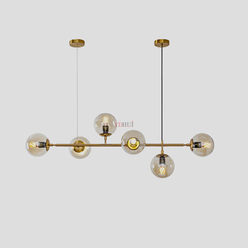 Modern Hand Blown Glass Shade Chandelier Long Hanging Suspension For Deco Home Gold Glass Ball Magic Bean Luminaire Plafonnier