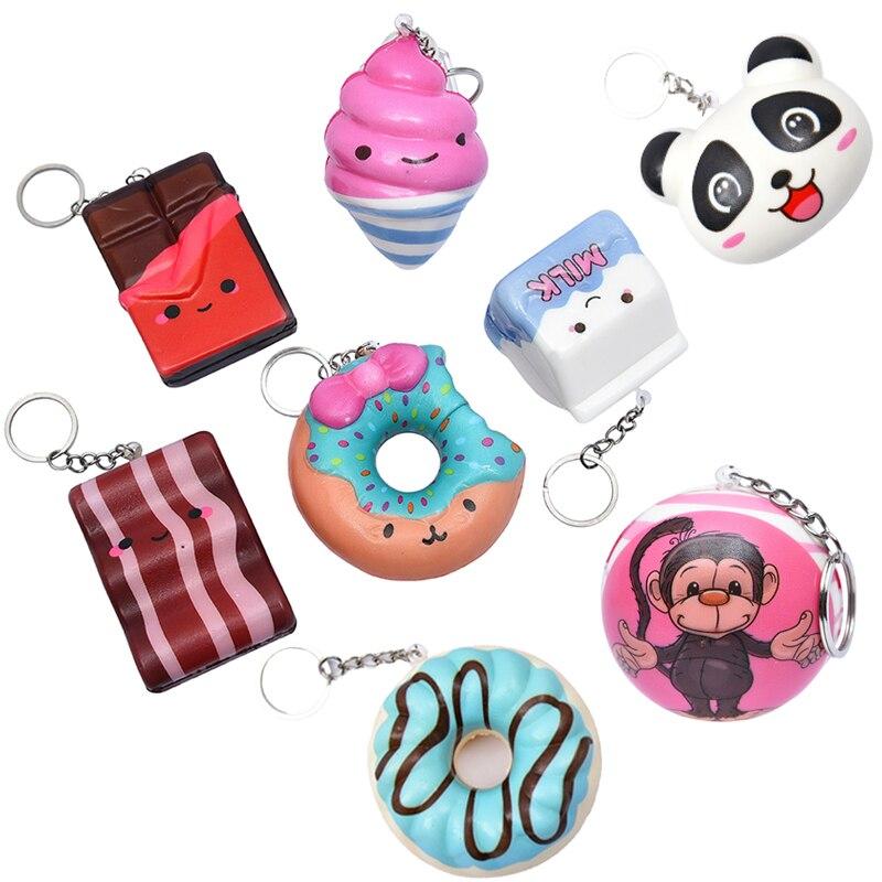 Panda Ice Cream Squishy Soft Slow Rising Squeeze Toys Relief Stress Ball Smooshy Mushy Squishy Keychains Knapsack Bag Pendant