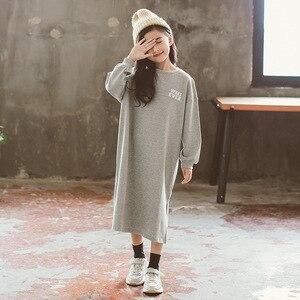 Image 5 - Spring Long Sleeve Letter Print Dresses for 3 16Yrs Girls T Shirt Dress Long Hoodie Dress Teens Pullover Moletom Feminina CA252