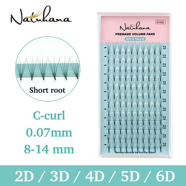 NATUHANA 2D 3D 4D 5D 6D Short Stem False Lashes Premade Russian Volume Fans Faux Mink Premade Eyelash Extensions Makeup Cilios 1