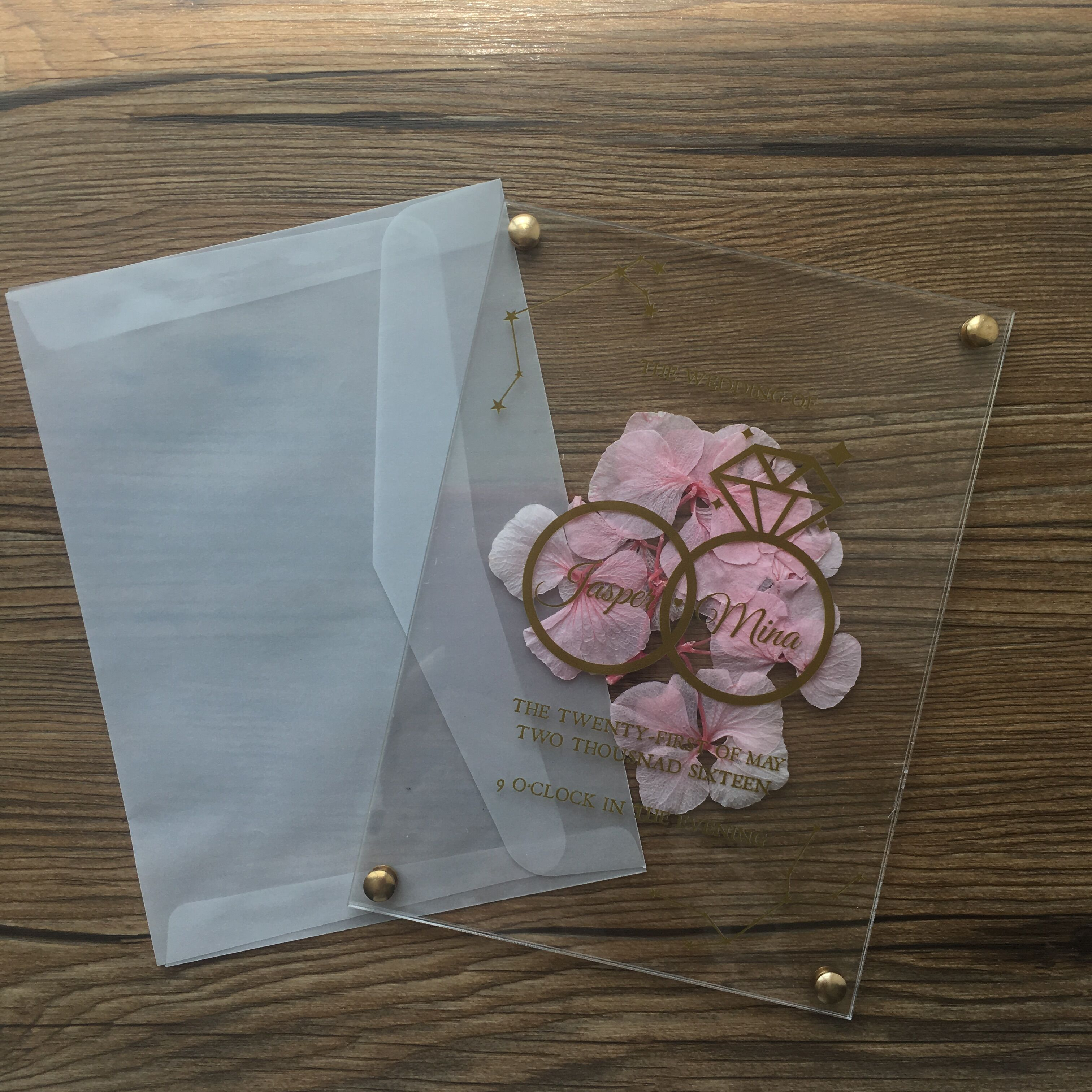 10pcs Newest Double Acrylic Wedding Invitation Card With Flower Inside For Wedding And Birthday Decoration