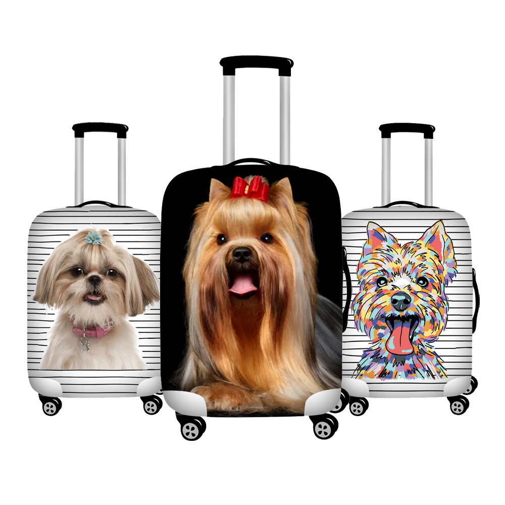 Twoheartsgirl Cute Yorkshire Terrier Dog Print Luggage Covers Waterproof 18-32inch Travel Suitcase Cover Trolley Case Cover