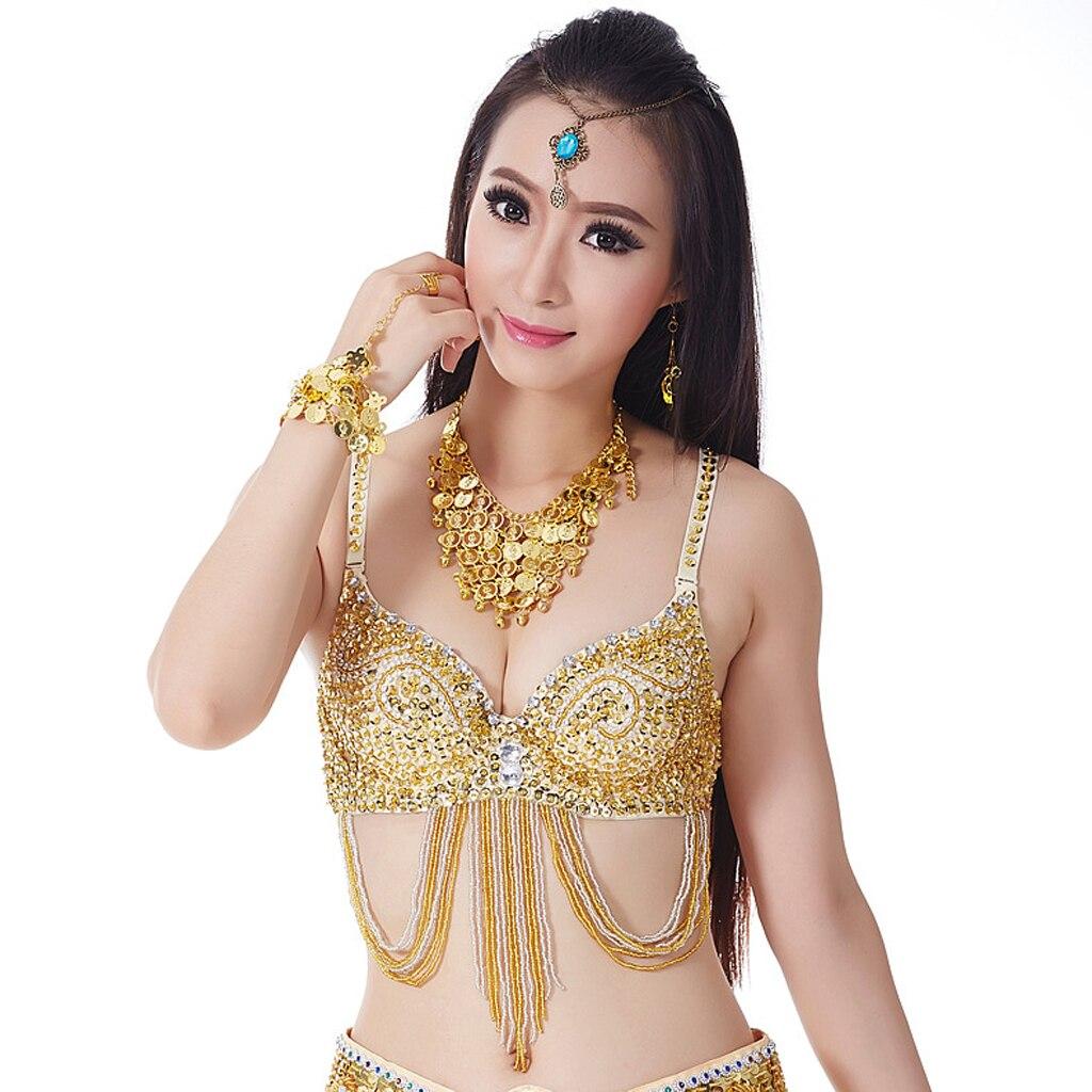 Bra Top Belly Dance Costume Dancing Bra Top Free Size 34C For Dance Handmade Belly Dance Bra Top With Sequins Beads Design