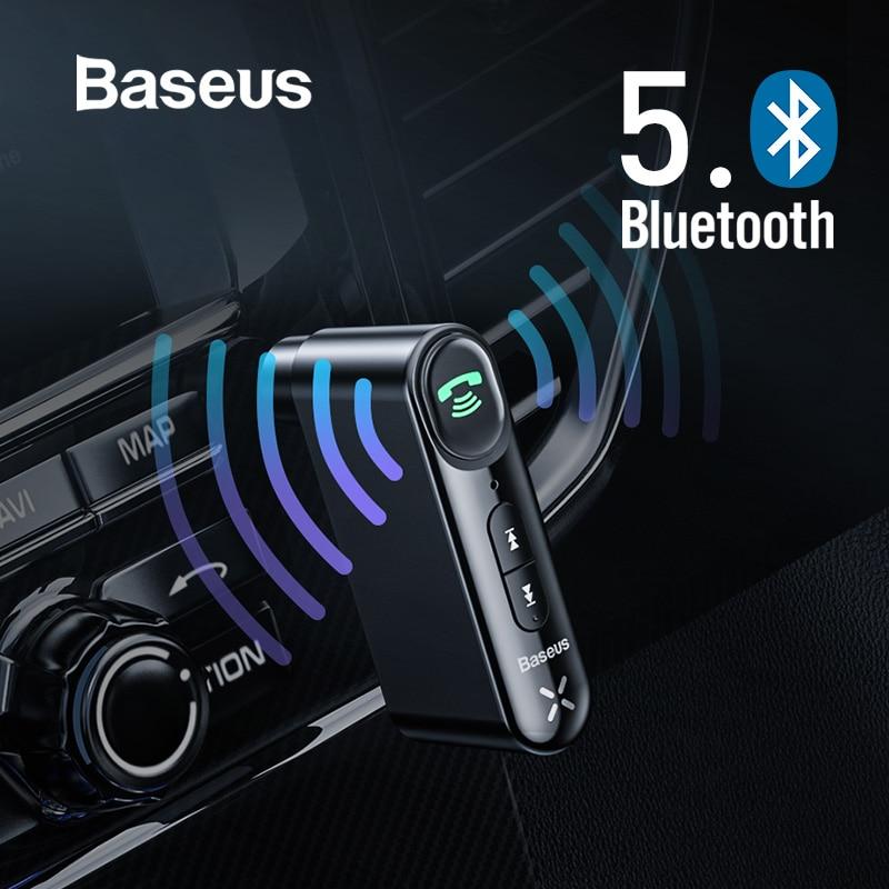 Baseus Adaptador Bluetooth 5.0 Sem Fio Receptor de Áudio 3.5 milímetros Aux Carro para Auto Mãos Livres Bluetooth Altifalante Do Kit para Carro Fone De Ouvido