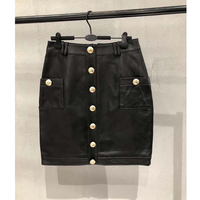 Cosmicchic Autumn Sheepskin Mini Skirt High Wrap Genuine Leather Black Short Skirt Tight Gold Plated Buttons Sexy Gothic Skirts