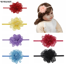 baby headband Chiffon Flowers Headband girls Burning Edge Wedding Decoration DIY Wreath Headwear newborn girls hair Accessories