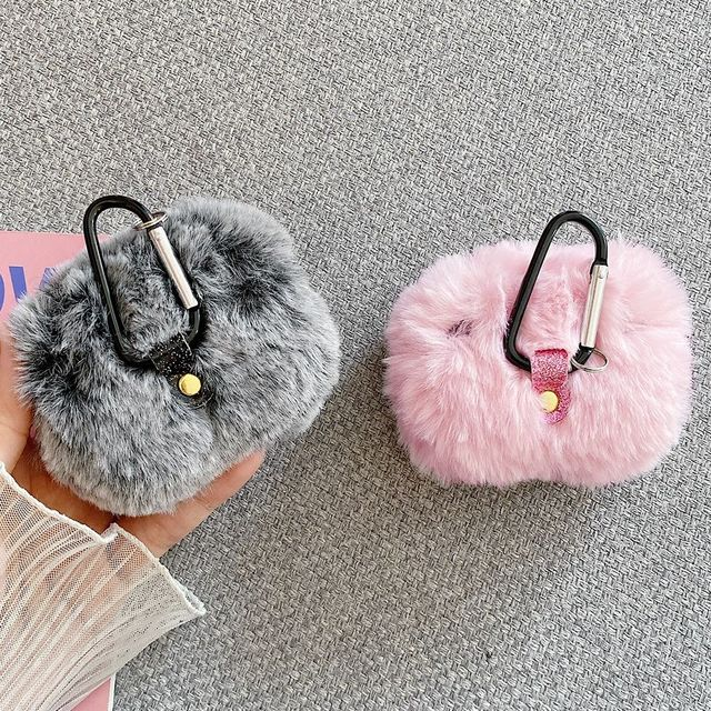 Soft Rabbit Ear Fur Case for Apple AirPods 1 2 Wireless Charging Fluffy Box with Carabiner Plush Cover for Airpods Pro Case Capa 6