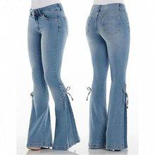 Модные женские сапоги до середины талии джинсовые расклешенные