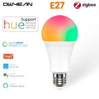 Owyean Tuya Zigbee 3,0 Smart E27 LED Glühbirne Lampe RGB + W + C Dimmbare Arbeit mit Farbton Smart leben Alexa Hause Assistent Automatisierung