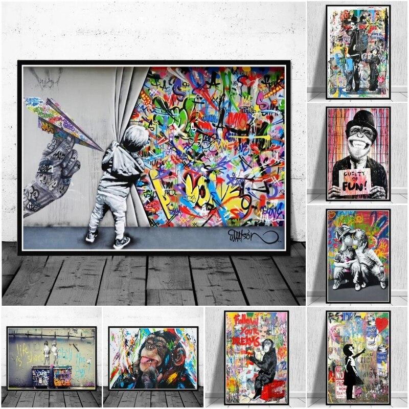 Graffiti lona banksy arte da lona cartazes e cópias engraçado macacos graffiti rua arte da parede fotos para a decoração moderna do quarto casa