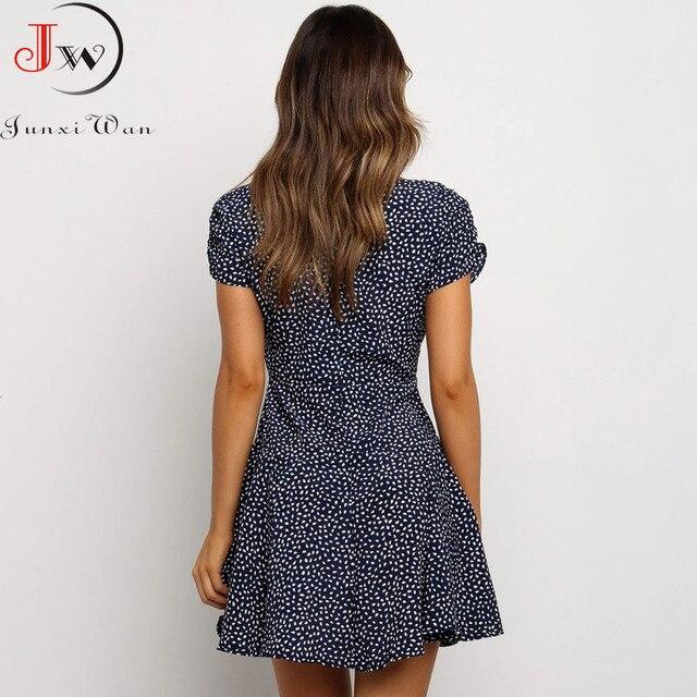 Vestido corto femenino de verano con manga abombada y cuello de pico, minivestido Sexy Vintage para mujer, con lunares, 2021 2