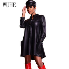 WUHE Black Sexy PU Leather Dress Lady Elegant Long Sleeve Hollow Out Loose with Pockets Mini Club Wear Clothing