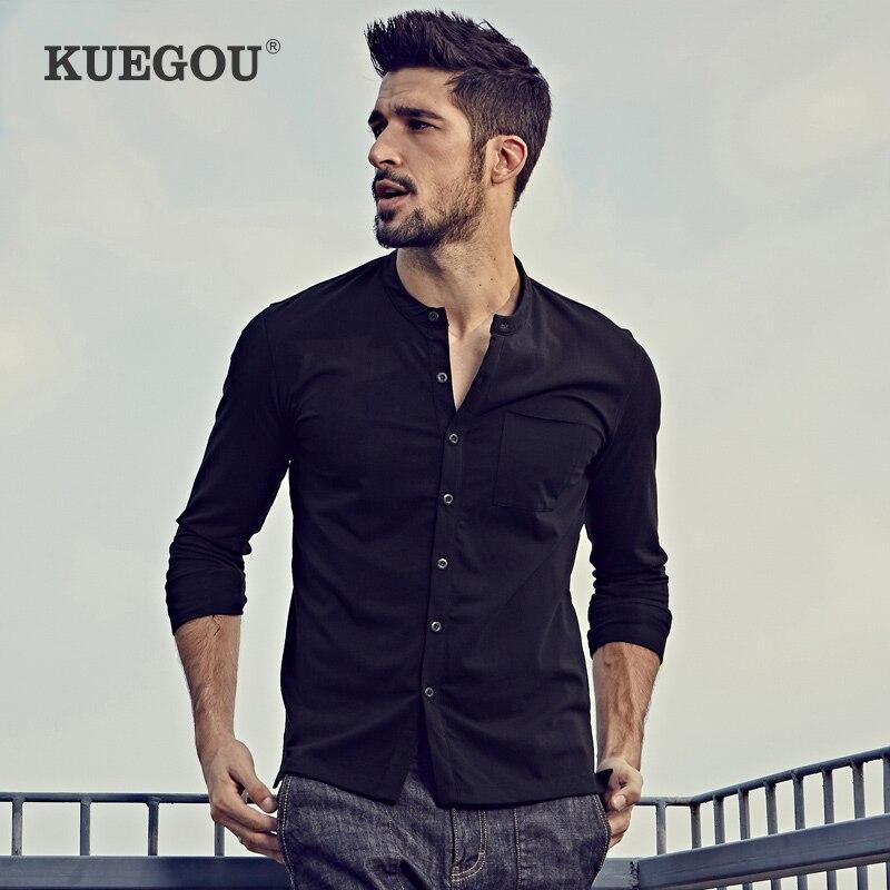 Kuegou marca masculina camisa de manga longa t masculino edição han cultivar a moralidade outono gola aberta moda masculina tshirt ZT-765
