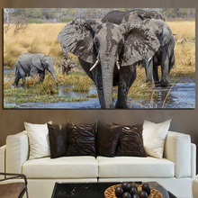 Animals Elephants Bathing in Mud Landscape Oil Painting on Canvas Poster and Print Abstract Art Wall Picture for Living Room