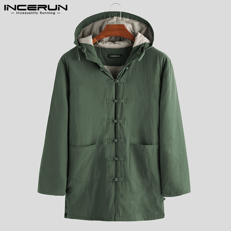 INCERUN Chinese Style Men Parkas Cotton Hooded Winter Button Up Trench Long Sleeve Wadded Jackets Vintage Padded Men Coats 2020