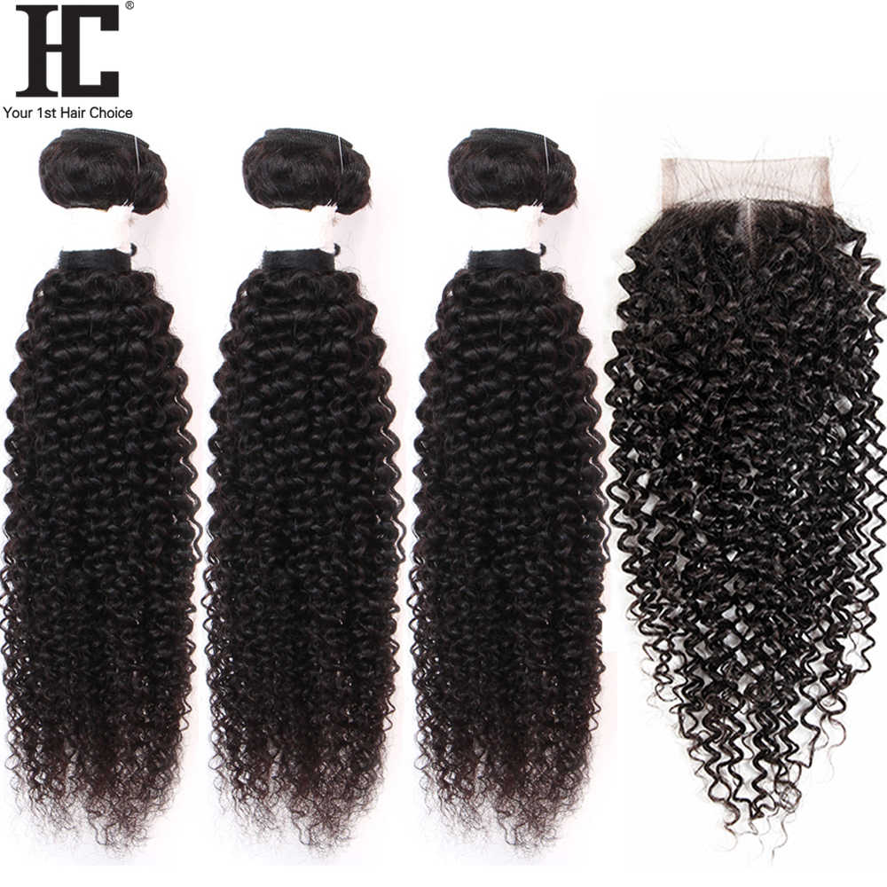 HC brezilyalı Kinky kıvırcık demetleri ile kapatma insan saçı örgüsü kapatma ile 3 demetleri olmayan Remy demetleri ile 4x4 dantel kapatma
