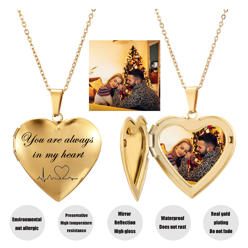 Personalized Your Photo Necklace Custom Heart Letter Pendant Gold Choker Jewelry Stainless Steel Necklaces Women Family Gift