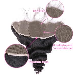 Image 5 - VSHOW brazylijska luźna fala 3 zestawy z zamknięciem 13x4 Frontal 100% ludzkie włosy splot wiązki z przednim doczepy z włosów typu remy