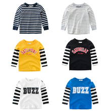 Kids Striped Pullover T-shirt Spring Autumn Boys Cotton Clothes Baby Casual Tops Tees Children T Shirt Letter Print Outerwear autumn spring velvet striped soccer letter print baby boys sweat shirt tee kids tshirt children fashion tops boys sweatshirt