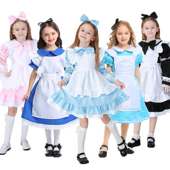Umorden Child Kids Wonderland Alice Costume for Girls Teen Girl Maid Lolita Cosplay Dress Halloween Carnival Party Costumes umorden child kids wonderland alice costume for girls teen girl maid lolita cosplay dress halloween carnival party costumes