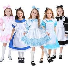 Umorden Kind Kinder Wunderland Alice Kostüm für Mädchen Teen Mädchen Maid Lolita Cosplay Kleid Halloween Karneval Party Kostüme