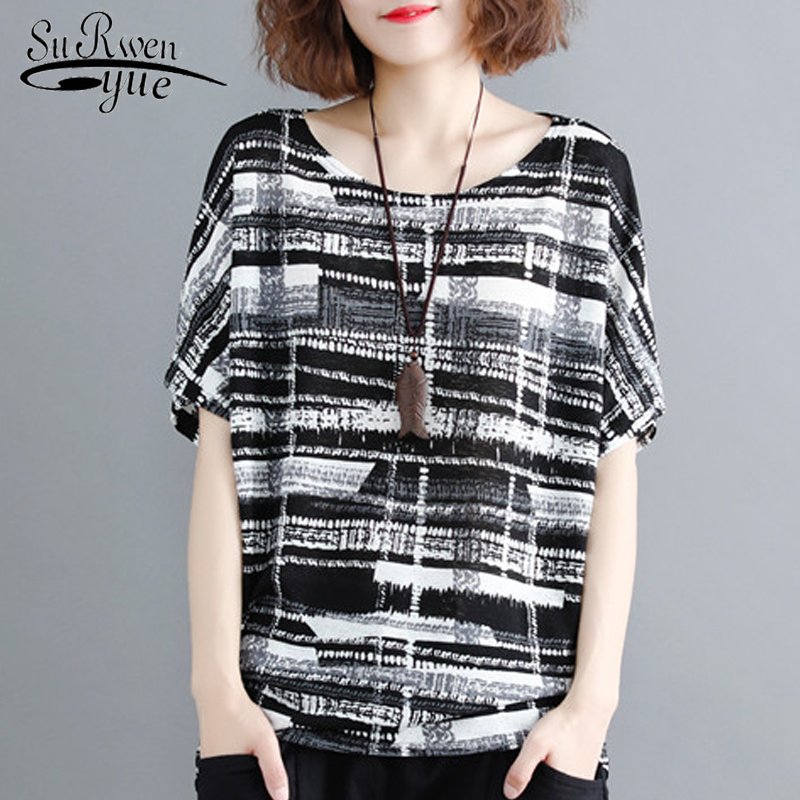 Plus Size Women Blouse Shirt Batwing Sleeve Summer Tops Feminine Blouses Print Black Striped Blouse Women Shirt Blusas 0275 40