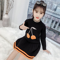 Fall Girls Clothes Sets black knit pullover Tops + Pleated Skirt Children's Knit Sweater Dress Girl Warm Outfits 2pcs set Kids