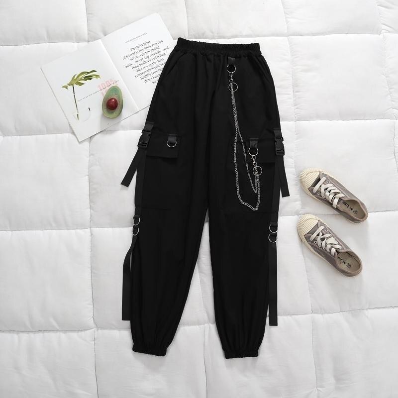 QWEEK Punk Women Black Cargo Pants With Chain Gothic Hippie Joggers Techwear Loose High Waist Wide Trousers Female Mall Goth 1