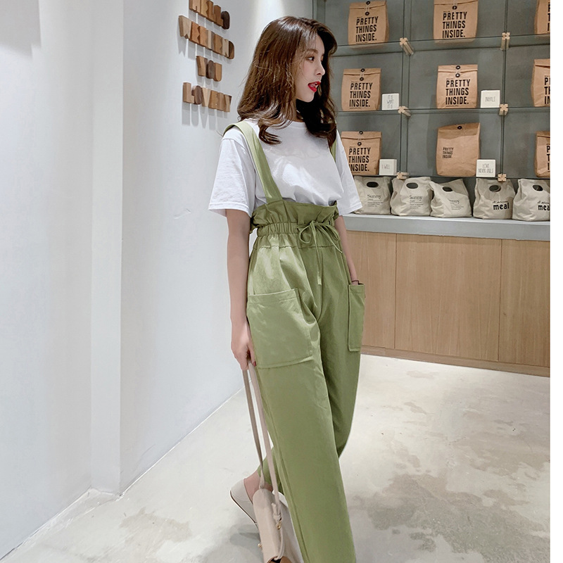 New Style High-waisted Bud Suspender Pants Women's Summer Capri Loose Pants Onesie + Short Sleeve Lettered T-shirt Women's F5902