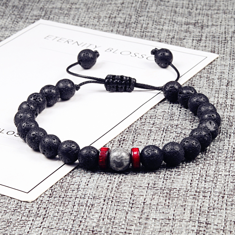 Men Bracelet Natural Black Onyx Stone Beads Tibetan Buddha Bracelet Chakra Lava Stone Diffuser Bracelets Men Jewelry Adjustable