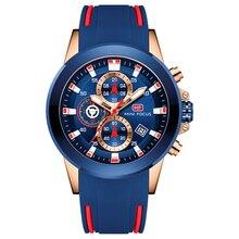 מיני פוקוס אופנה שעון יד גברים Waterproof משולב ספורט שעון גברים של שעוני יד קוורץ יוקרה מותג כחול סיליקון רצועה