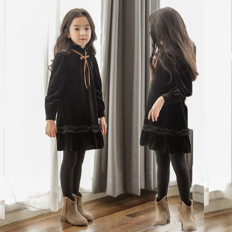 Флисовое платье для больших девочек; сезон осень зима; Новое поступление 2019 года; платья для подростков; черное детское платье с оборками; Рождественская одежда в стиле пэчворк